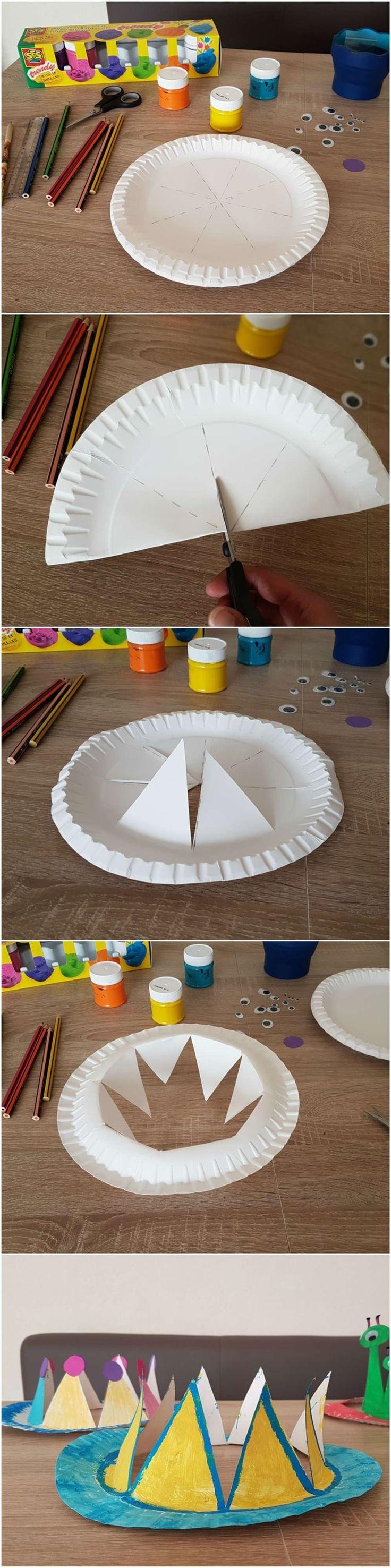 #Anleitung: #Pappteller #Krone und #Hüte #basteln mit #kinder - #Paper #Plate #Party #Crown #DIY - (Diy Paper Crown)