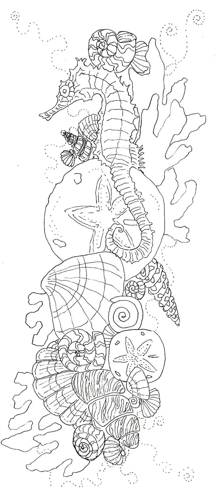 the drawing before it became color Seahorse Shells Ocean Coloring pages colouring adult detailed advanced printable Kleuren voor volwassenen coloriage pour