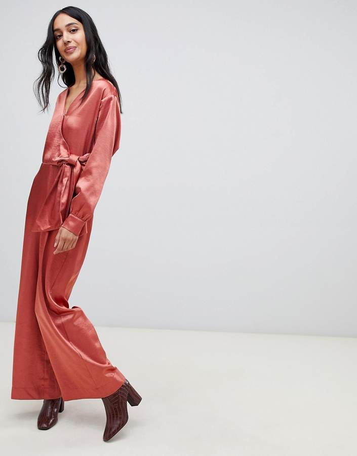 db11e3a2f2ed  76.00 - Lost Ink wrap front plunge  jumpsuit in satin - Jumpsuit by Lost  Ink. - Done in one - Plunge neck - Wrap front - Tie fastening - Wide legs  ...