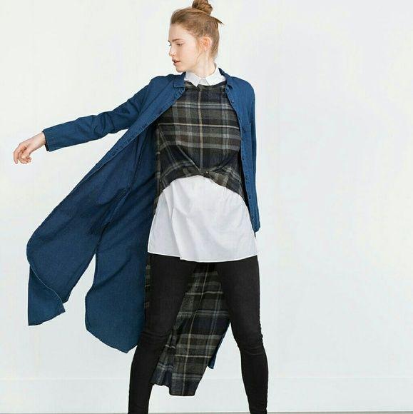 Leap year sale!  Zara long denim shirt (firm) Can be worn as an over shirt, or dress. Lightweight. Brand new.  Reduced from $59 Zara Tops Button Down Shirts