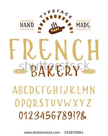 """Hand Made betűtípus """"francia kenyér"""" Custom kézzel írott ábécé.  Eredeti betűk és számok.  Vintage retro kézzel rajzolt betűtípus vektoros illusztráció.  tiszta verzió"""
