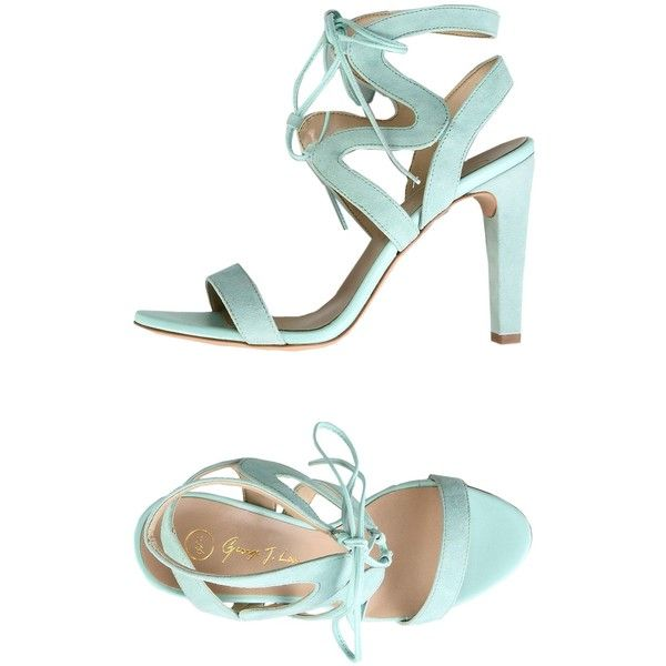 George J. Love Sandals ($115) ❤ liked on Polyvore featuring shoes, sandals, light green, laced up shoes, laced shoes, geometric shoes, george j love shoes and lace up sandals