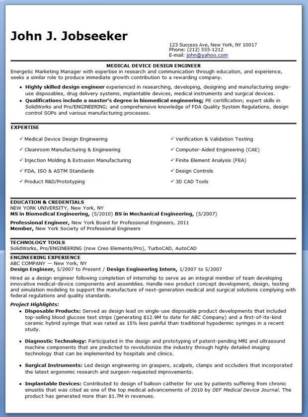 Design Engineer Resume Examples Experienced Engineering Design Resume Examples Medical Device Design