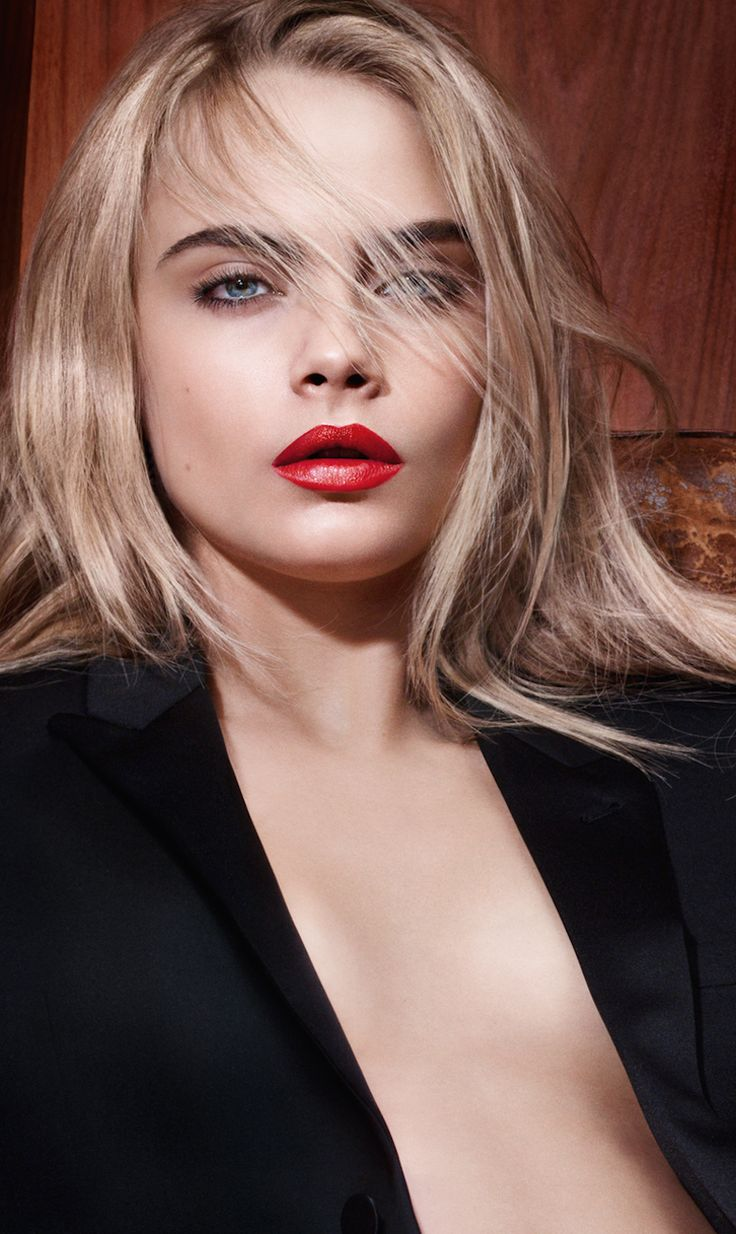 chanel red lips cara delevingne - Google Search