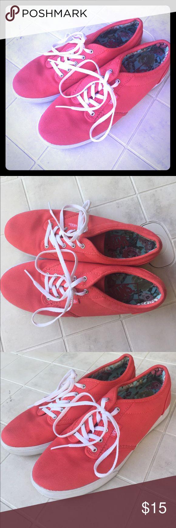 Coral Vans Sneakers Size 7.5 Coral covered Vans sneakers, barely worn. Smoke free pet free home. Vans Shoes Sneakers