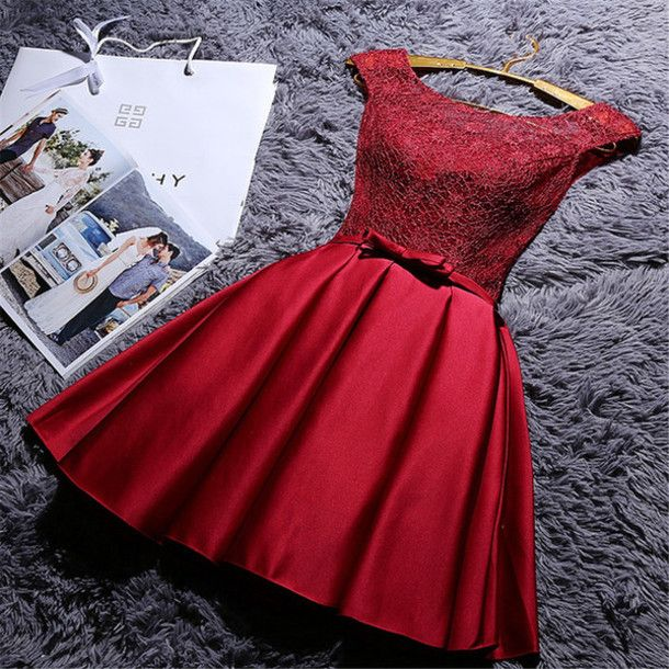 Burgundy Real Made Homecoming Dress,Sexy Party Dress,Charming Homecoming…