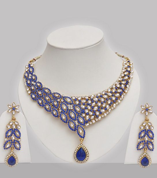 Blue Jewellery Set In Kundan  #hennaheels