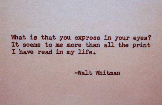 WALT WHITMAN Letterpress Typed Quote Love Poem Walt Whitman Quote Hand Typed Typewriter Quote with Vintage Typewriter Art Paper Goods Cards