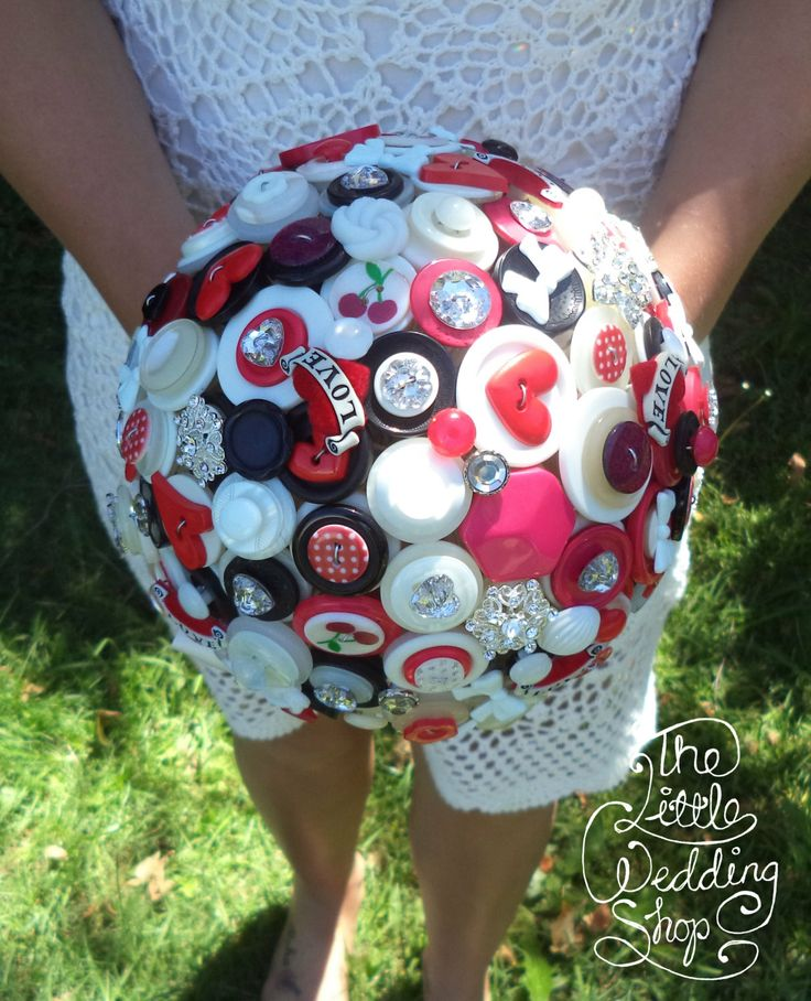 Button Bouquet  Rockabilly Bouquet FREE by TheLittleWeddingShop, $370.00