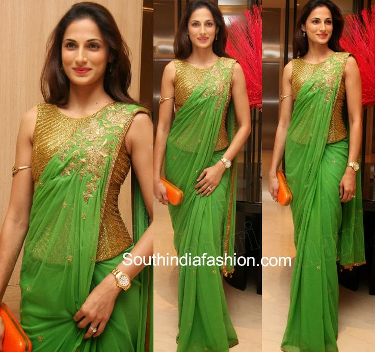 Sarees - Red and green net celebrity saree | Giftsmate