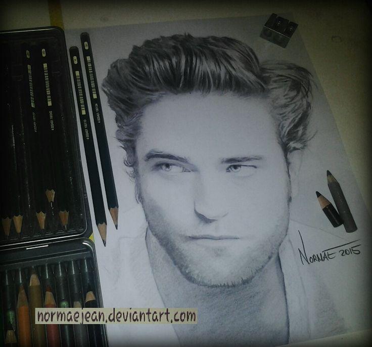 Normaearts pencil portraitdrawing Robert Pattinson by NormaeJean.deviantart.com