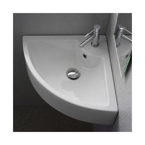 Ceramic 19″ Corner Bathroom Sink with Overflow