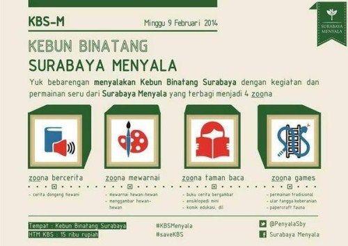 "Yuk bebarengan menyalakan Kebun Binatang Surabaya dengan kegiatan dan permainan seru ""Surabaya Menyala"" @PenyalaSby"