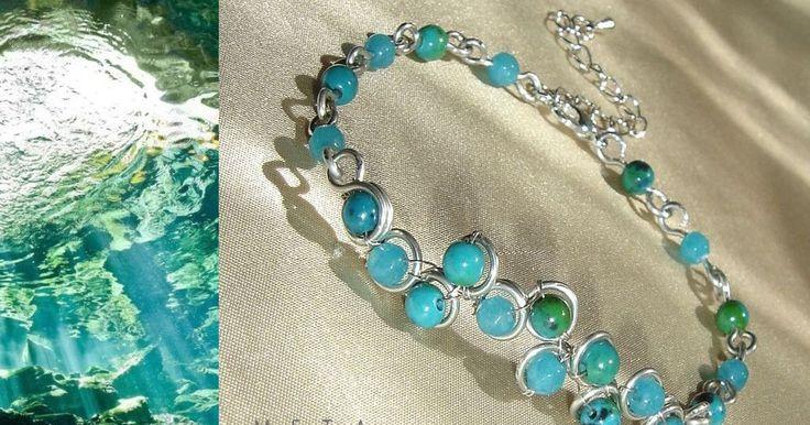 Sea flowers - drótékszer ásvány karkötő / Sea flowers - wire wrapped gemstone bracelet