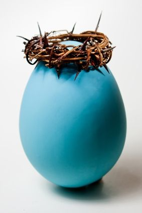 This Easter egg hunt telling the story of Jesus. Great idea. Have the watch those thorns, though.