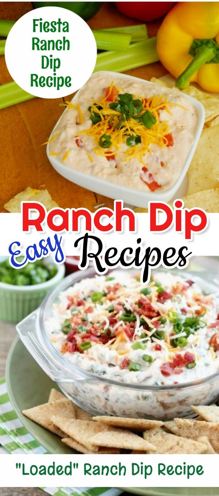 Easy ranch dip recipes! Bacon ranch dip, homemade ranch dip, jalapeno ranch dip, fiesta ranch dip, buffalo chicken ranch dip, spicy ranch dip recipe and more.