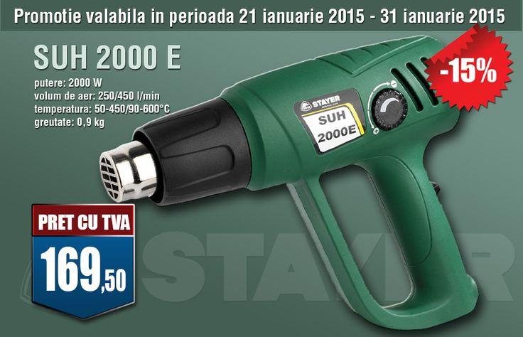 Pistol aer cald 2000 W SUH 2000E STAYER http://www.toolszone.ro/pistol-aer-cald-2000-suh-2000e-stayer-p-9715.html     putere: 2000 W     volum de aer: 250/450 l/min     temperatura: 50-450/600-9000°C     greutate: 0,9 kg