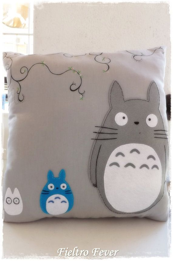 Totoro, Totoro Cushion, Totoro pillow, Totoro cushion, purple cushion