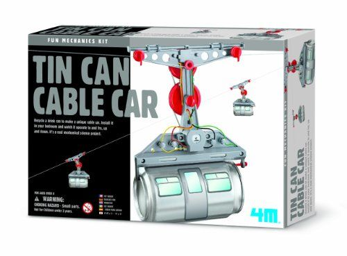 Tin Can Cable Car. Have crazy mechanical fun - recycle your drinks can - turn it into a unique cable car!  age 8+ #41018 | 15.95