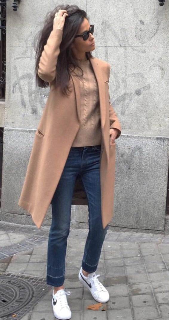 Street style. Camel Trench with Nike Cortez See More At www.HerFashionedLife.com