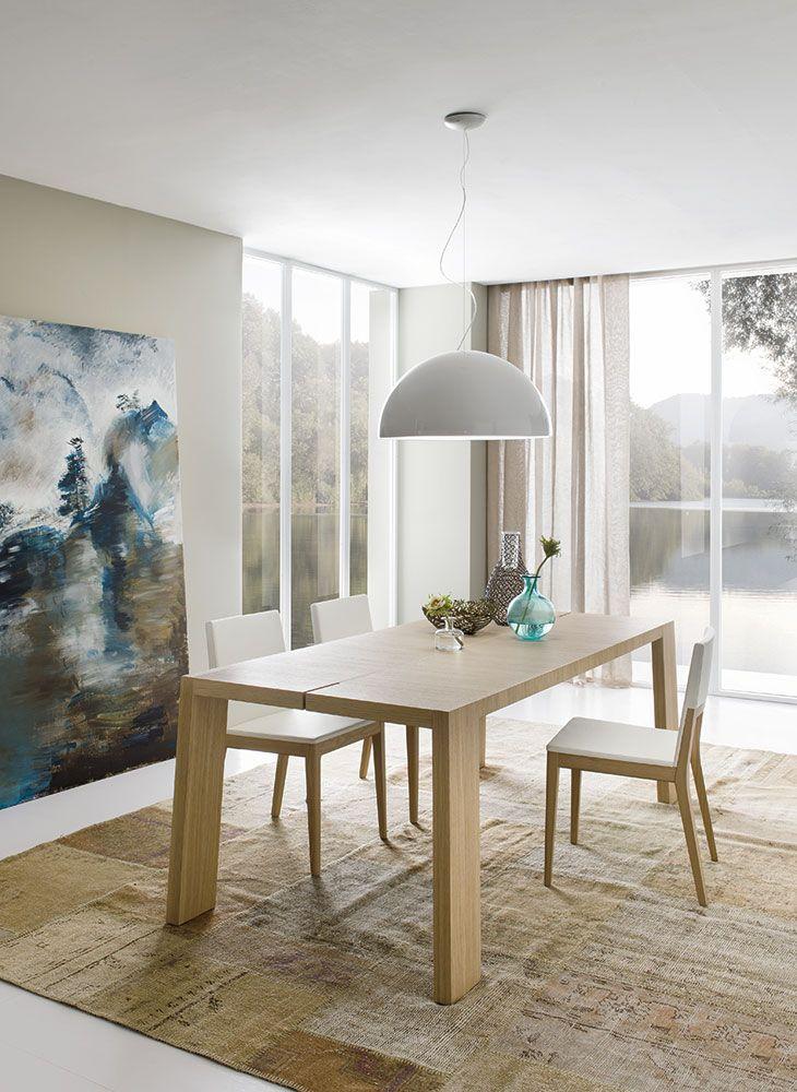 Complementi by ALF + DAFRÈ. ALFRED, Tavolo allungabile, finiture: Rovere colore opaco Bianco.
