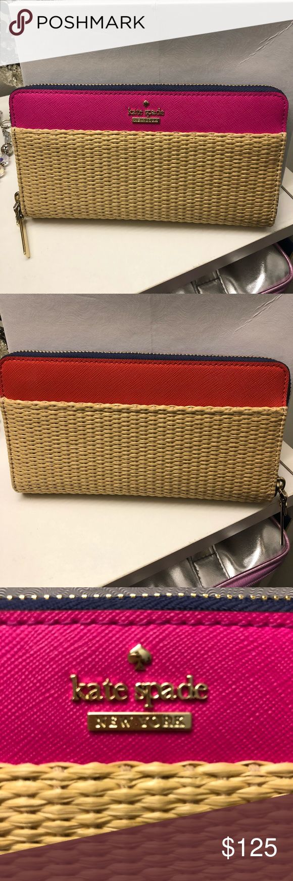 Brand New ♠️ Kate Spade  Wallet Fushia on one side and orange on the other. Striped blue and white inside. Purchase from Nordstrom not Outlet Merchandise. Brand New kate spade Bags Wallets