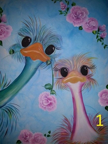 step by step photo e pattern tole painting ostriches with instrucions and line drawings for a lott of ostriches