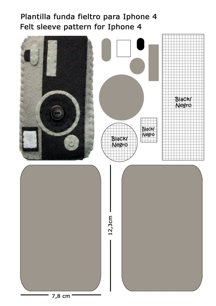 patron camara fieltro funda movil Iphone4  felt camera pattern Iphone4 sleeve
