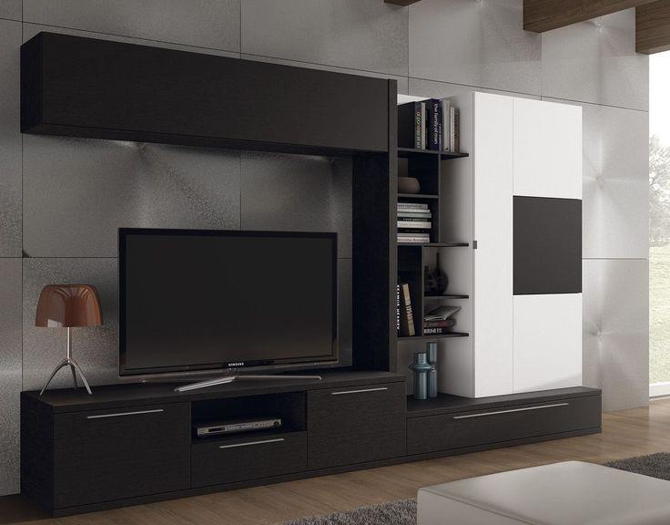 LASAN. 895€. Espectacular diseño de mueble de salón de 3.02 metros, que combina el contraste del acabado de la melanina en color negro poro con la melanina en color blanco poro. Disponible en más acabados y medidas.  Elementos decorativos no incluidos.