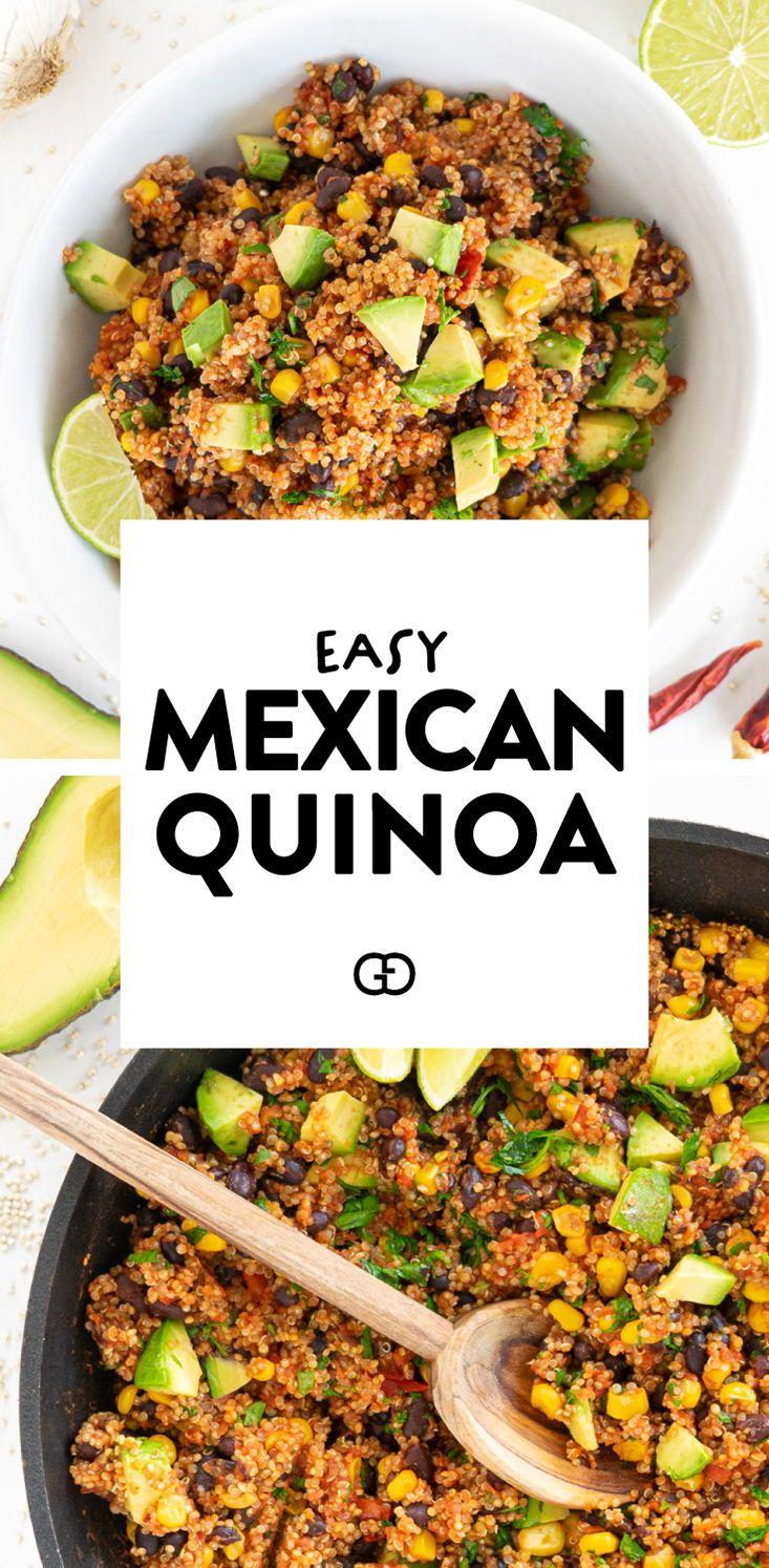 One Pan Mexican Quinoa Vegan Gluten Free Gathering Dreams Recipe In 2020 Mexican Quinoa Mexican Food Recipes Healthy Meal Prep