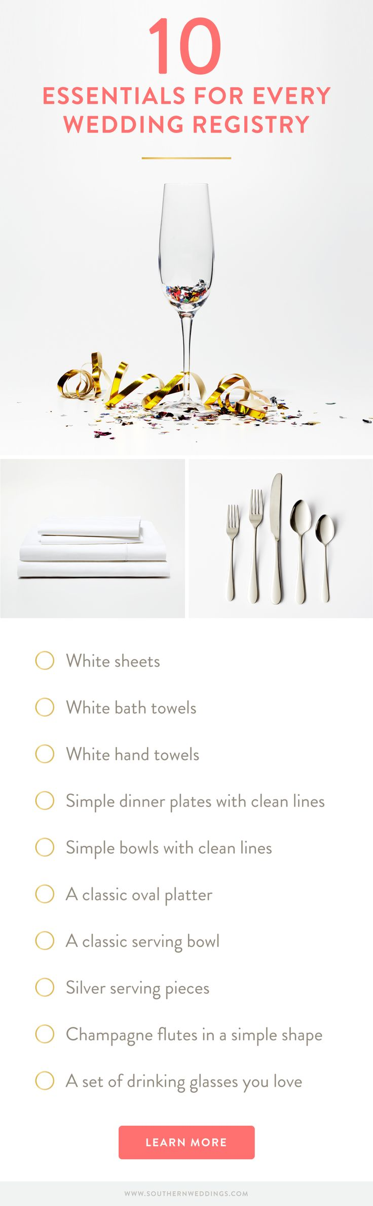 Snowe is a wonderfully minimalist source for simple, high quality home goods that would be the perfect backbone to any registry. Inspired by their collection, we came up with our master list of ten essentials for every Southern wedding registry to get you started!  http://southernweddings.com/2016/03/30/10-essentials-for-every-southern-wedding-registry/
