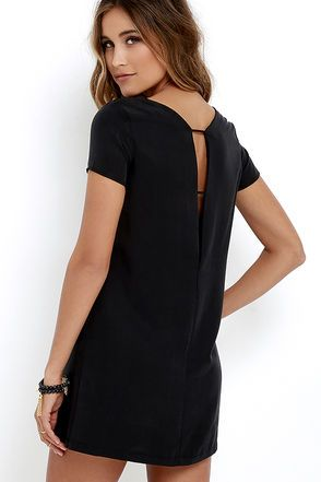 Take a mini vacation every time you slip on the Mumbai the Way Washed Black Shift Dress! Soft and sleek woven fabric shapes short sleeves, rounded neckline, and straight-cut bodice with darting. The effortlessly cool silhouette gets a sultry peek of skin at back, thanks to a strappy V cutout.