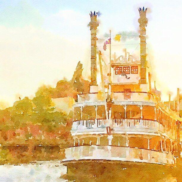 Pinを追加しました!/#waterlogue #tokyodisneyland #東京ディズニーランド #蒸気船マークトウェイン号 #水彩画風