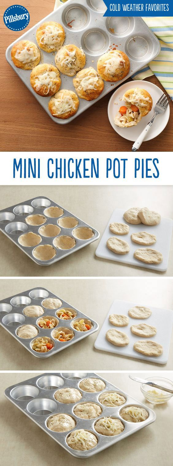 You can't go wrong with the classic comfort food of Mini Chicken Pot Pies! Made with chicken noodle soup and biscuits these shareable pies are the perfect way to warm up.
