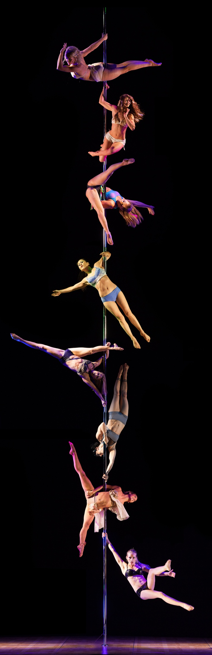 """I have some super weird issue with multiple dancers on one pole. It just bothers me for some mysterious reason, haha. My heart is saying, """"This is crazy beautiful!"""", but my eyes and brain are like, """"7 of you need to dismount right now.""""."""