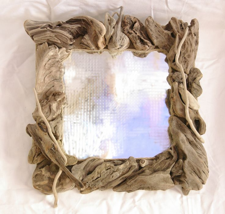 handmade driftwood mirror 43 X 43 cm