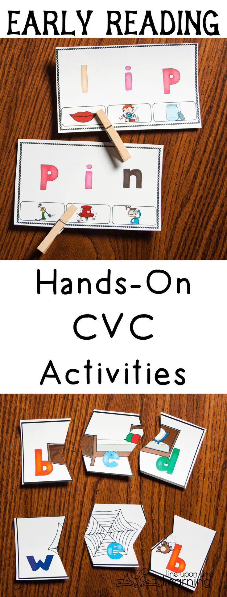Clip cards and word + image puzzles give fine motor and great early reading practice in these hands-on CVC activities.