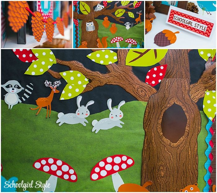 Classroom Decoration Forest ~ Woodland animals owls birds squirrels fox deer raccoon