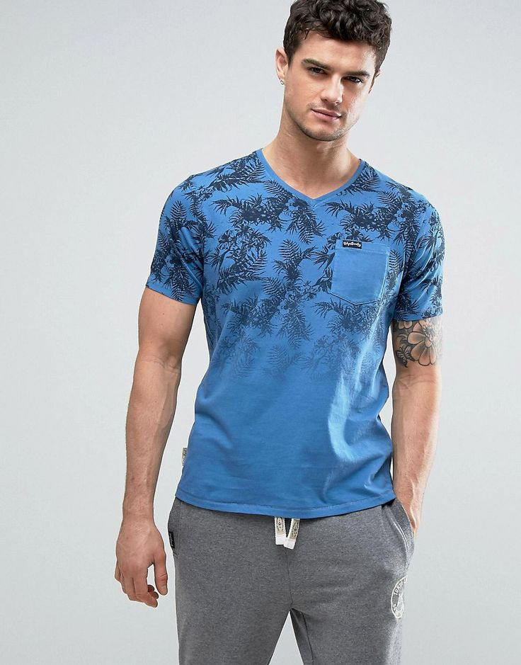 Tokyo Laundry Tropical Print Fade Out V Neck T-Shirt - Blue