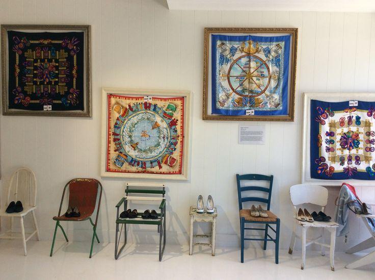 Hermes scarves displayed at our shop