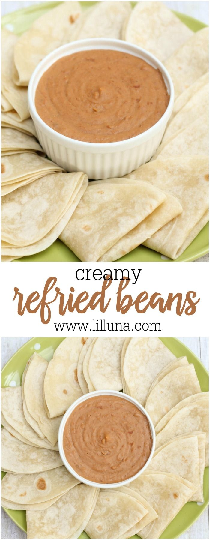 Creamy Refried Beans - perfect for dipping or for bean burritos!!