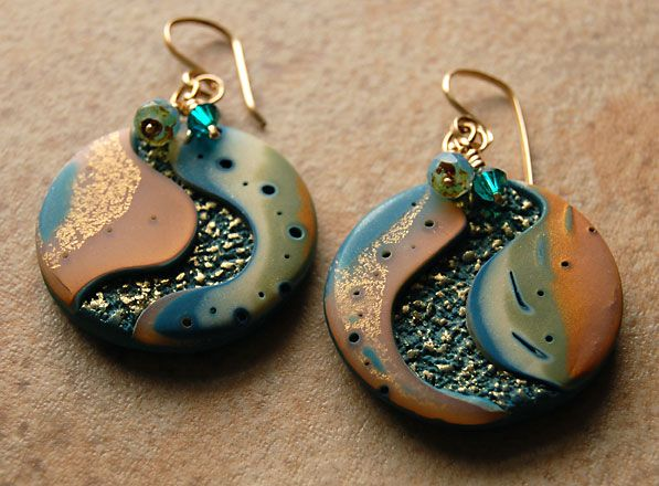 Polymer Clay Earrings  I love these earrings. Wish I could do this with clay.