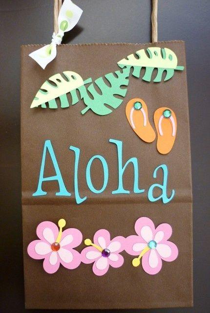 Mini swag bag Aloha Luau Theme by KiddieGoodyBags on Etsy, $2.50: