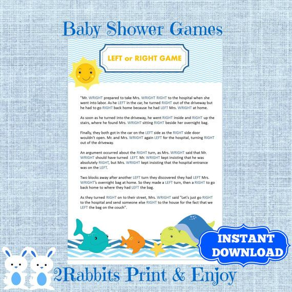 download under the sea baby shower left right baby shower game