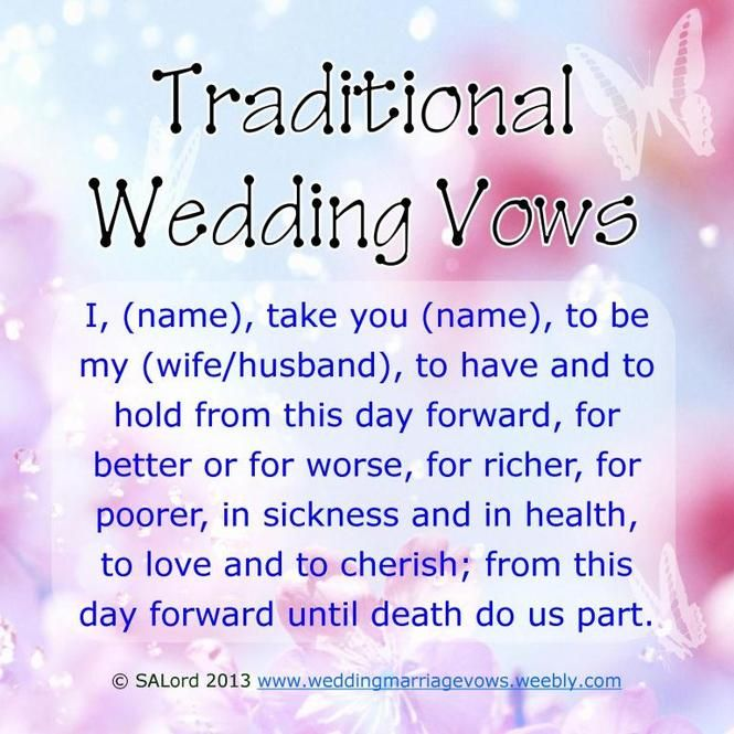 20 Traditional Wedding Vows Example Ideas Youll Love  Wedding vows  Traditional wedding vows