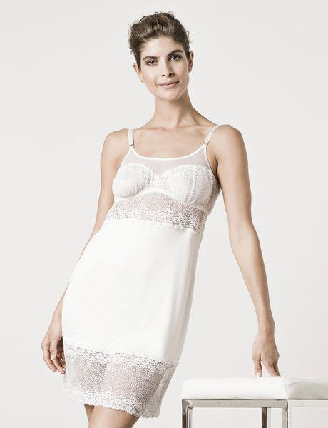 London Lace Chemise Moon White : Luxury Sleepwear