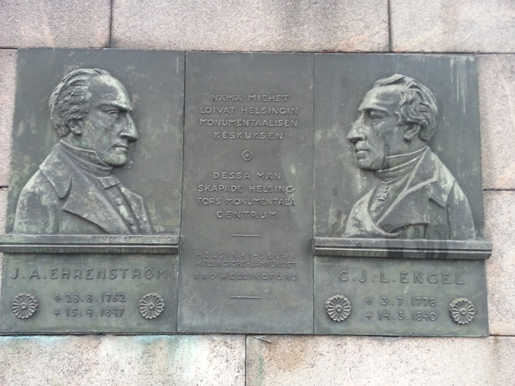 Architects C. L. Engel and J.A. Ehrenström. The designers of the inner city of Helsinki. Relief by sculptor Felix Nylund.