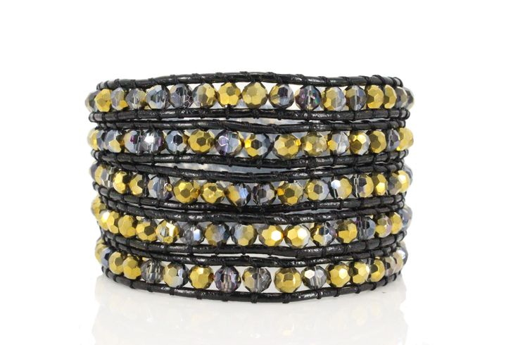 GABY Wrap Bracelet by #Beautiz. Beautiful 5 layer handcrafted leather wrap bracelet. Swarovski crystals. Stainless Steel and Nickel-Free Clasp. Shop here: http://www.beautiz.net/english/fashion-jewelry/bracelets/wrap-bracelets/gaby.html
