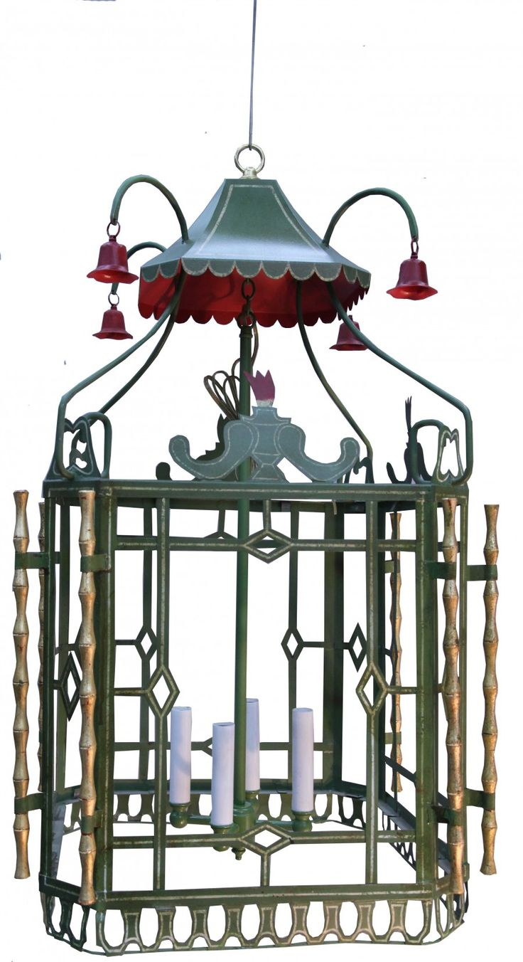 HAND PAINTED REGENCY CHINOISERIE HANGING LANTERN - too much for me and my house but I do love it!