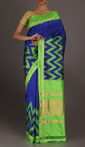 Vaidehi Bold Smart Green Zig Zag On Cool Blue Ikat Pochampally Silk Saree